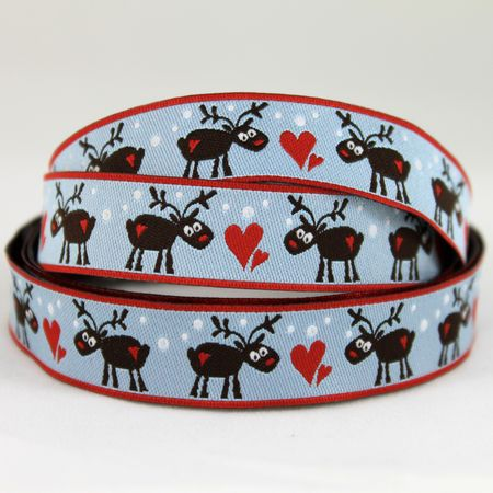 Ribbons galore blue reindeer ribbon 1