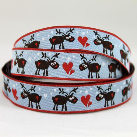 Ribbons galore blue reindeer ribbon 1