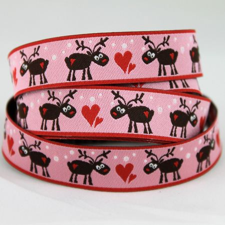 Ribbons galore pink reindeer ribbon 1