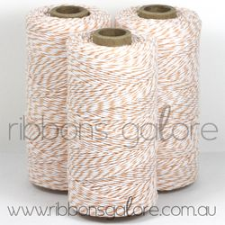 Ribbons Galore peach & white bakers twine