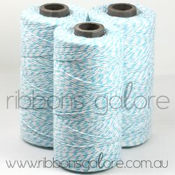 Ribbons Galore aqua & white bakers twine