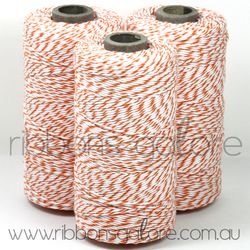 Ribbons Galore orange & white bakers twine