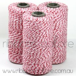 Ribbons Galore pink, red & white bakers twine