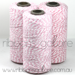 Ribbons Galore pink & white bakers twine
