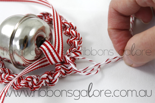 Ribbons Galore mini Christmas wreath tutorial step 7 (created by Fiona Carter)
