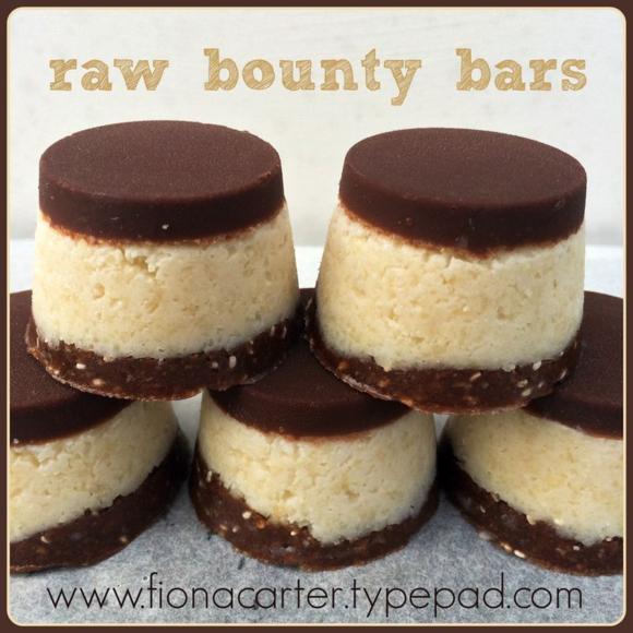 Raw bounty bar made by Fiona Carter